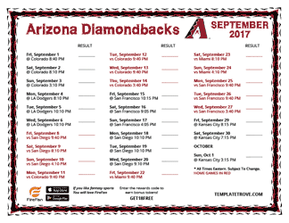 September 2017 Arizona Diamondbacks Printable Schedule
