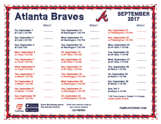 September 2017 Atlanta Braves Printable Schedule