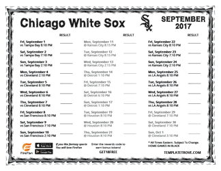September 2017 Chicago White Sox Printable Schedule