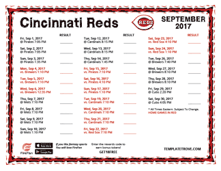 September 2017 Cincinnati Reds Printable Schedule