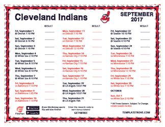 September 2017 Cleveland Indians Printable Schedule