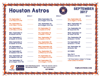 September 2017 Houston Astros Printable Schedule