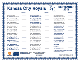 September 2017 Kansas City Royals Printable Schedule
