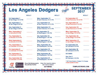 September 2017 Los Angeles Dodgers Printable Schedule