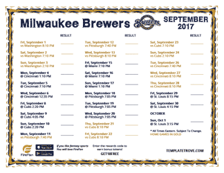 September 2017 Milwaukee Brewers Printable Schedule