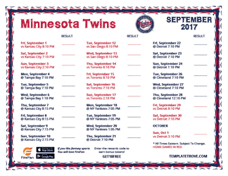 September 2017 Minnesota Twins Printable Schedule