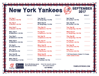 September 2017 New York Yankees Printable Schedule