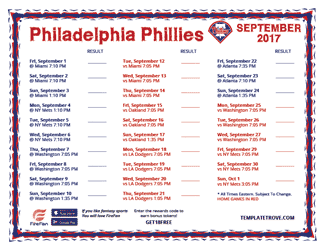 September 2017 Philadelphia Phillies Printable Schedule