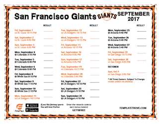 September 2017 San Francisco Giants Printable Schedule