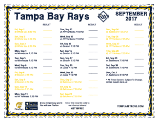 September 2017 Tampa Bay Rays Printable Schedule