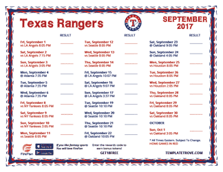 September 2017 Rangers Schedule