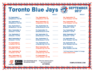 September 2017 Toronto Blue Jays Printable Schedule
