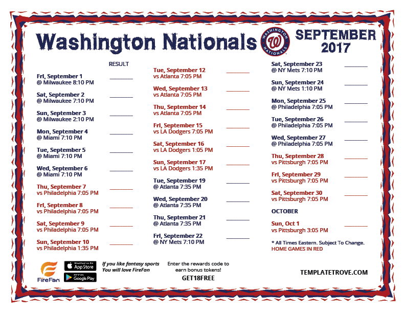 photograph about Washington Nationals Printable Schedule known as Printable 2017 Washington Nationals Plan