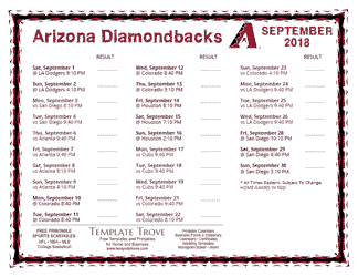September 2018 Arizona Diamondbacks Printable Schedule