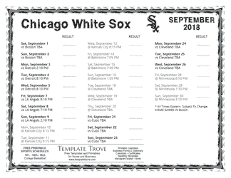 September 2018 Chicago White Sox Printable Schedule
