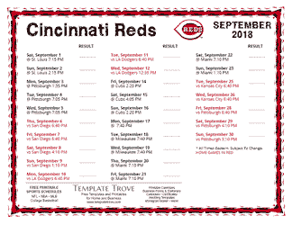September 2018 Cincinnati Reds Printable Schedule