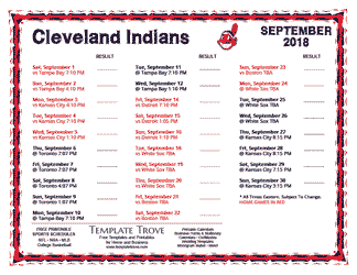 September 2018 Cleveland Indians Printable Schedule