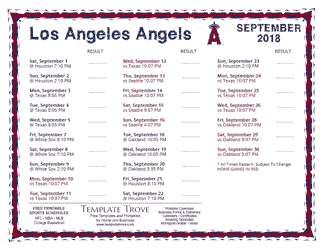 September 2018 Los Angeles Angels Printable Schedule