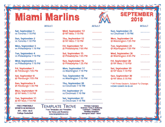 September 2018 Miami Marlins Printable Schedule