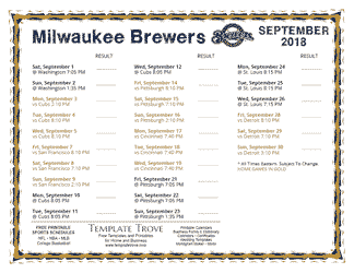 September 2018 Milwaukee Brewers Printable Schedule