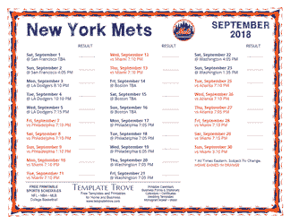 September 2018 New York Mets Printable Schedule