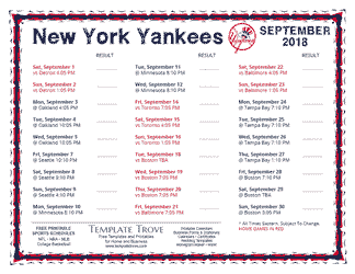 September 2018 New York Yankees Printable Schedule