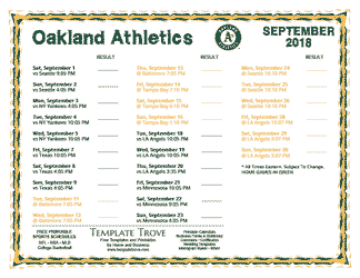 September 2018 Oakland Athletics Printable Schedule