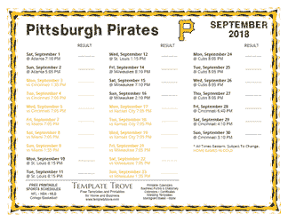 September 2018 Pittsburgh Pirates Printable Schedule