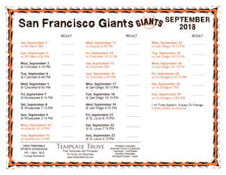 September 2018 San Francisco Giants Printable Schedule