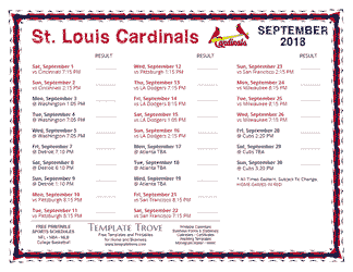 September 2018 St. Louis Cardinals Printable Schedule