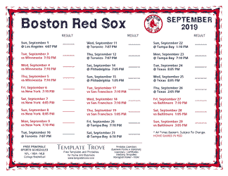 September 2019 Boston Red Sox Printable Schedule
