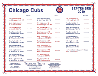 September 2019 Chicago Cubs Printable Schedule