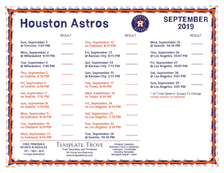 September 2019 Houston Astros Printable Schedule