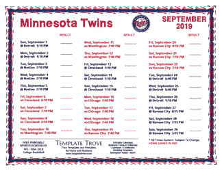 September 2019 Minnesota Twins Printable Schedule
