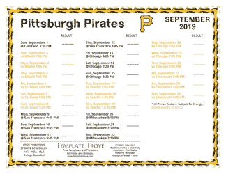 September 2019 Pittsburgh Pirates Printable Schedule