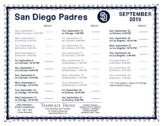 September 2019 San Diego Padres Printable Schedule