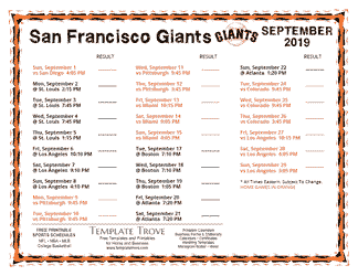 September 2019 San Francisco Giants Printable Schedule