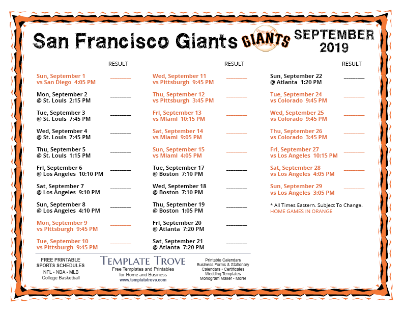 It is an image of Sassy Sf Giants Schedule Printable
