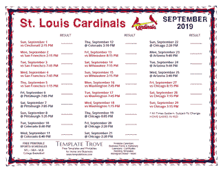 September 2019 St. Louis Cardinals Printable Schedule