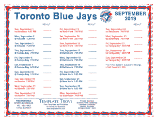 September 2019 Toronto Blue Jays Printable Schedule