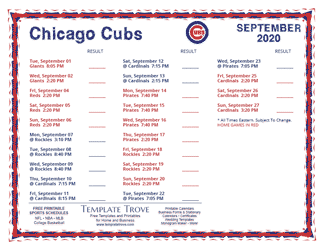 September 2020 Chicago Cubs Printable Schedule