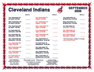 September 2020 Cleveland Indians Printable Schedule
