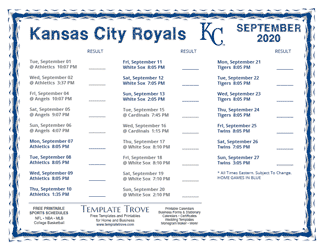 September 2020 Kansas City Royals Printable Schedule