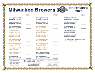 September 2020 Milwaukee Brewers Printable Schedule