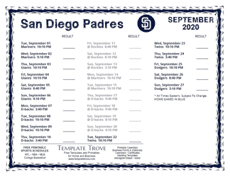 September 2020 San Diego Padres Printable Schedule