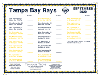 September 2020 Tampa Bay Rays Printable Schedule
