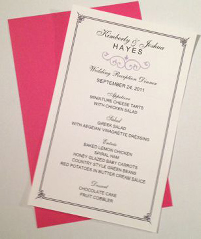 Half Sheet Wedding Menu Template