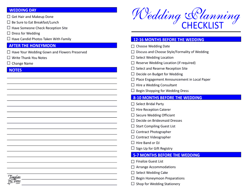 Wedding planning checklist wedding checklist blue junglespirit Gallery