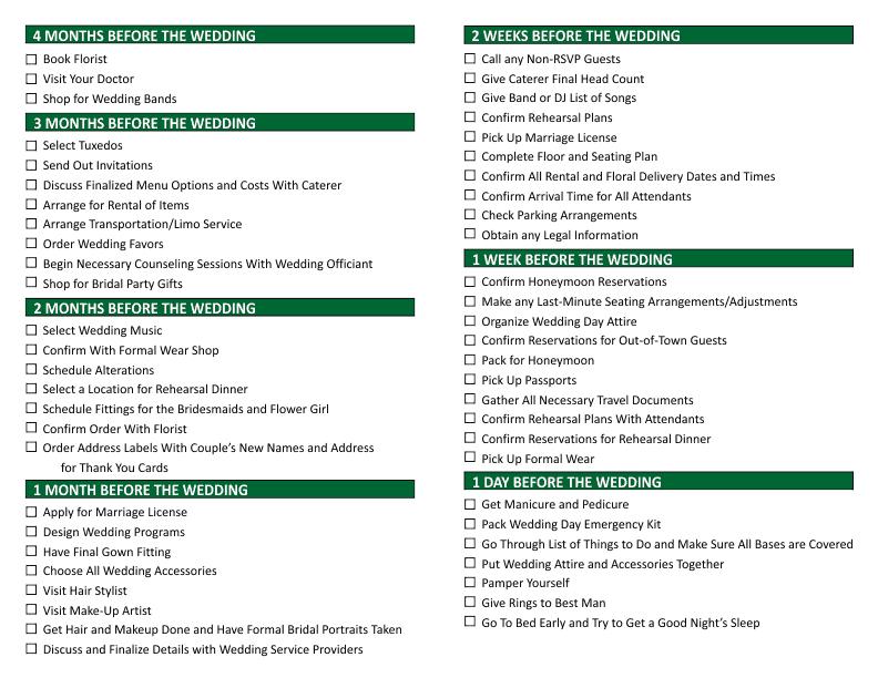 Planning A Wedding Checklists.Wedding Planning Checklist