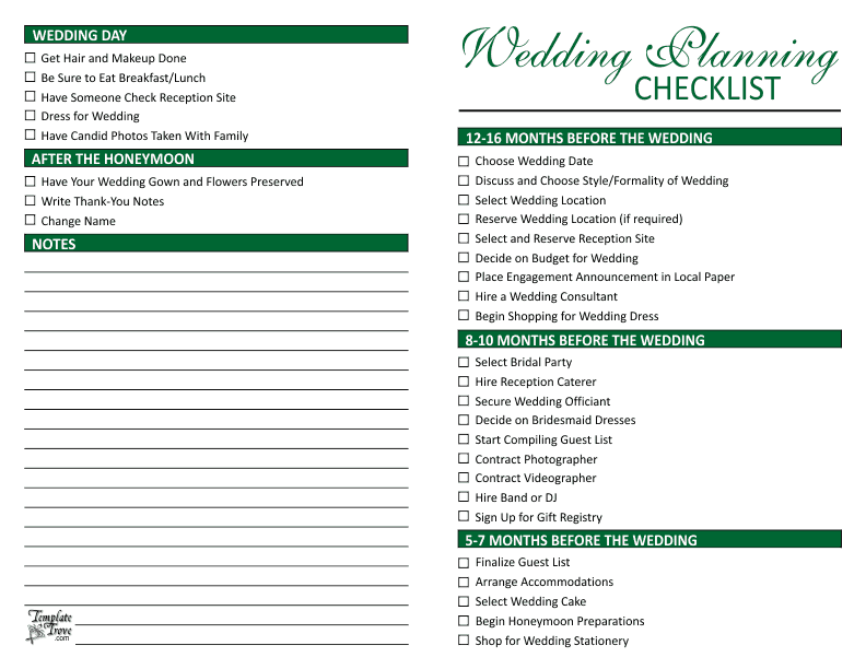 Calendar Organization Questionnaire : Wedding planning checklist
